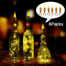 6pc 2M 20Led Flame Candle Wine Bottle Cork String lights Copper Wire Party Decor
