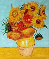 Van Gogh Twelve Sunflowers Repro, Quality Hand Painted Oil Painting 20x24in