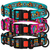 Adjustable Dog Collar with Buckle Nylon Pet Collars Puppy Aztec Pattern S M L XL