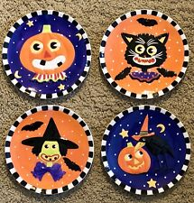 Rtrd 2003 Mary Engelbreit Enesco Welcome To Frightville Halloween Plate Set x4