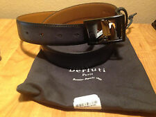 NEW Berluti Venezia Leather Boot-Buckle Belt, Black  with Dustbag SIZE 38