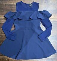 Bardot Junior Size 14 Navy Dress, Navy Cold Shoulder, Sheer Sleeves,Dress , NWT