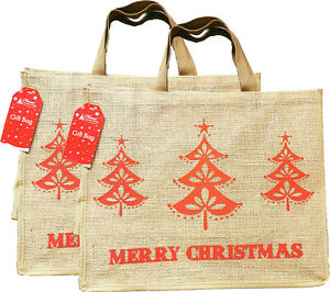 2 x Large Christmas Jute Bags Shopping Bag Natural Jute Tote Bag with Lining