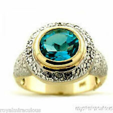 Genuine Blue Topaz & Diamond Ring Sterling Silver or Yellow Gold Plated Silver