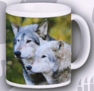 Wolf Mug Ceramic Wild Life Photo Wolves Scene Porcelain Mug Hand Decorated in UK