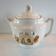 Porcelier China Teapot Country Hearth w/ Lid~Made In Usa