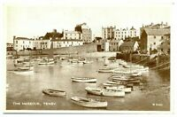 Antique RPPC real photograph postcard The Harbour Tenby moored boats sea