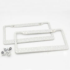2 Diamond Bling Chrome License Plate Tag Steel Frames for Auto-Car-Truck-Van