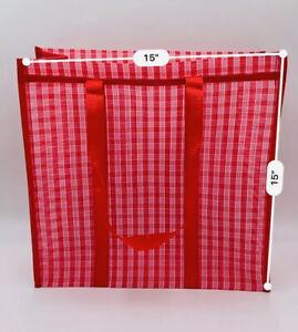 """Mexican Market Mesh Handle Bag Rausable Tote Bolsa De Mercado 15"""" Red Checkered"""