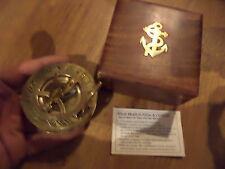 BRASS SHIPS COMPASS IN WOODEN BOX WITH ANCHOR MOTIF