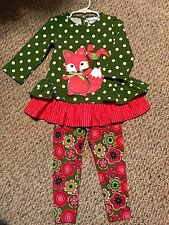 Girls Sz 3T Rare Editions Outfit Top Pants Legging Ruffles Dots Stripes Flowers