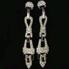 Deco Pave Baguettes and Onyx Triple Element Pendant Screwback Earrings