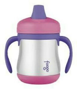 Thermos Foogo Vacuum Insulated Stainless Steel 7oz Sippy Cup w Handles, Pink-NEW