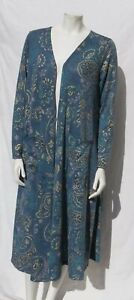 LULAROE Blue Gold Floral Print Stetch Knit Open Front Duster Sarah Cardigan US L