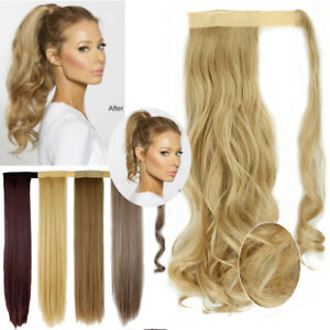 Ash Blonde/Blonde Shade 100% Natural Wrap On Clip in Ponytail Hair Extensions TH