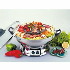 Electric Teppanyaki BBQ Grill Griddle Hot Pot Multi Cooker DIA30CM 1950W ZJ30A