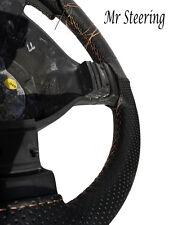 Per Fiat Stilo nero perforato in pelle Volante Copertura 01-08 PANNA Stitch