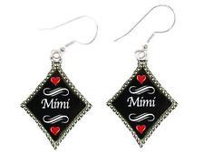 Mimi Silver Diamond Wire Hook Earrings Jewelry Family Gift Grandmother