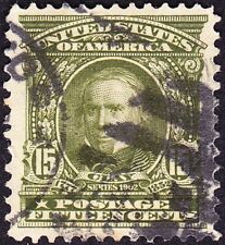 US - 1903 - 15 Cents Olive Green Henry Clay 1902 Series Issue # 309 Very Fine +