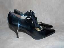 Martinez Valero Patent Leather Black LACE UP Heels Pointy Tip 9 Used No Box