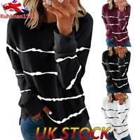 UK Women Casual Long Sleeve T Shirt Ladies Stripe Print Blouse Loose Jumper Tops