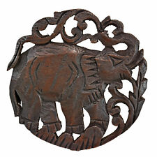 Noble Elephant Hand Carved Teak Wood Trivet or Hot Plate Pad