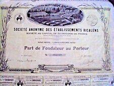 1640 Actions au porteur des établissements ricalens 1928 ( Ariège )