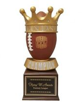 "Fantasy Football 16 Year Trophy Large Crown Football Award 17.25"" Tall P-52212Gs"