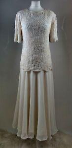 Gunit Women Evening Gown Dress Cream Embellished Beaded Wedding Party Long 10 12