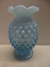 "FENTON GLASS BLUE OPALESCENT HOBNAIL MINI 4"" VASE"