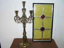 VINTAGE CANDLE HOLDER AND STAINED GLASS LEADED WINDOW