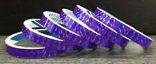"""6x 3 yards (18y) 1/2"""" PURPLE Holographic Colored Prism TAPE Reflective 7 Colours"""