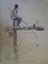 PAZIENZA su un monumento OLANDESE'S HOLIDAY Dudley Hardy 1894 old print ref R