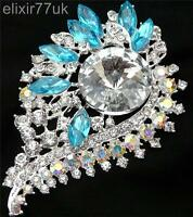 """NEW STUNNING 3.6"""" SILVER FLOWER BROOCH BLUE DIAMANTE LARGE CRYSTAL PARTY BROACH"""
