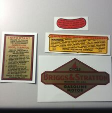 Briggs & Stratton Pre WW2 Decal Set With United Oil Bath A, B, K, Z & I Set of 4