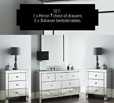 NICHES SET Mirrored 7 Draw+2 Bedside Cabinets Chest of Draws Luxury Storage