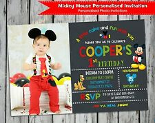 MICKEY MOUSE INVITATIONS PERSONALISED PHOTO INVITES CARDS 1ST FIRST BIRTHDAY