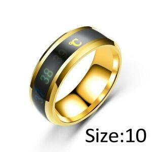 Fashion Mood Smart Temperature Couple Ring Stainless Steel Display Ring Jewelry