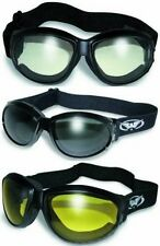 3 Eliminator Motorcycle Goggles Padded Skydive Clear Mirror Smoke Yellow Rally