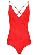 Womans Scalloped Floral Lace Cross Back Cami Strap Bodysuit Playsuit Leotard Top Lace - Black 8455 UK 10