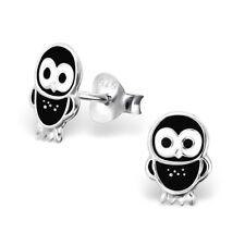 Girls Sterling Silver Baby Owl Stud Earrings Black Kids Cute Studs Genuine 925