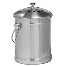 Stainless Steel Kitchen Compost Keeper Food Scrap Bin Waste Container Filter Lid
