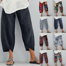 ZANZEA Women's Long Pants Casual Solid Wide Legs Harem Pants Plain Trousers Plus