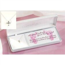 "Baby Girl Dedication Sterling Silver Cross Necklace, on 13"" Chain, by Dicksons"