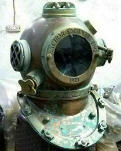 Antique Diving Helmet Vintage Anchor Marine Rare Antique Divers Helmet