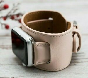 Pink Apple Watch Band Series 5 4 3 2 1 Genuine Leather Handmade iWatch Bands