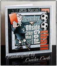 MA132 - Handmade Personalised Male/Football/Ref/Name/Age 8x8 Birthday Card
