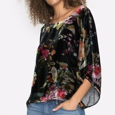 Johnny Was Medium Killani Velvet Floral Print Cropped Top Blouse M