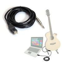 W780 3m Guitar Bass 1/4'' 6.3mm Jack To USB Connection Instrument Cable Ada D9Z2