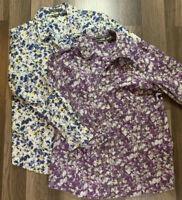 Lot Of 2 Eddie Bauer Women's Blouses Size L Stretch Floral Pattern Button Down